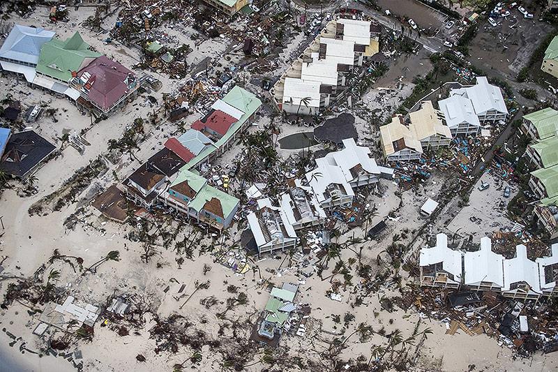 Zerstörte Küste auf Saint Martin