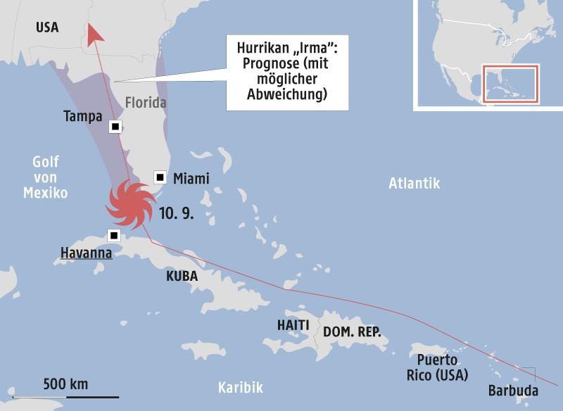 Karte vom Hurrikan Irma