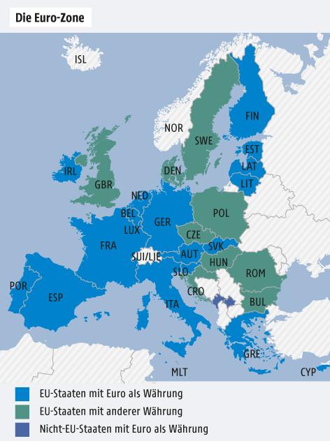Karte von Europa mit der Eurozone