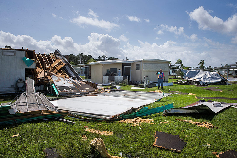 Zerstörte Häuser in Estero