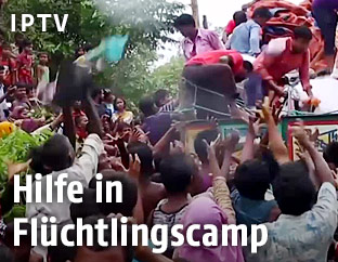 Flüchtlinge im Flüchtlingscamp erhalten Hilfe