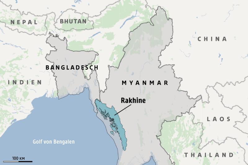 Karte zeigt Rhakine in Myanmar