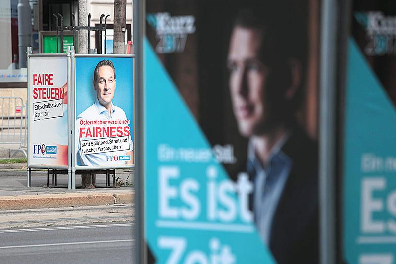 Wahlplakate von ÖVP und FPÖ