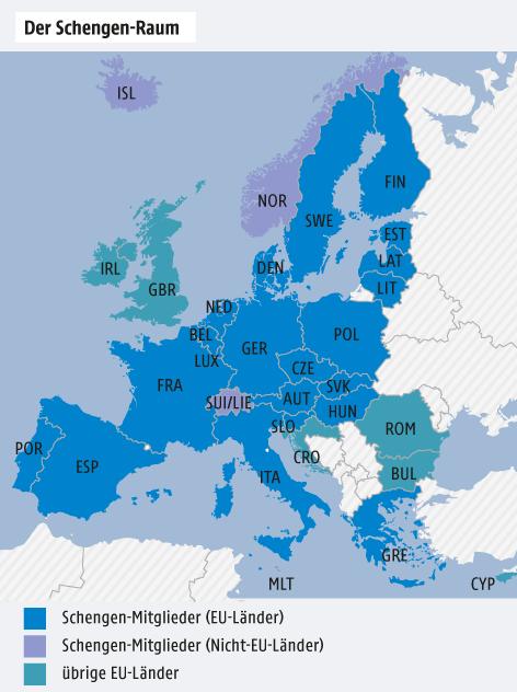 Karte von Europa mit dem Schengen-Raum