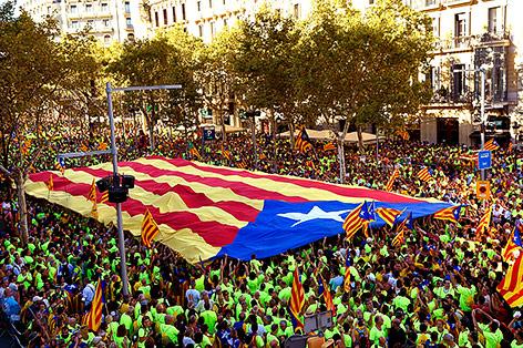 Demonstranten für die Unabhängigkeit Kataloniens von Spanien