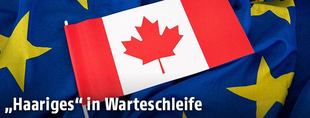 Kanadische und EU-Fahne