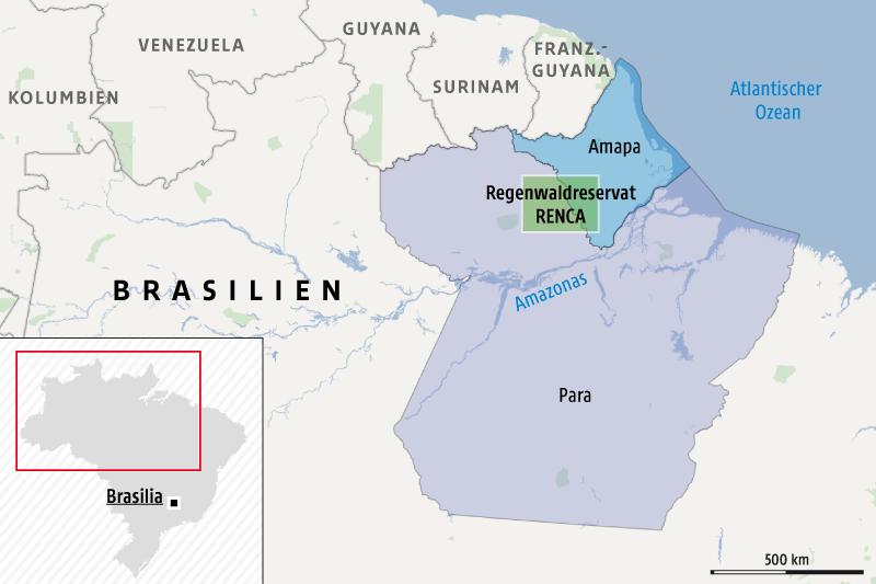 Karte zeigt die brasilianischen Bundesstaaten Amapa und Para