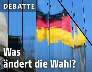 Spiegelung der deutschen Fahne