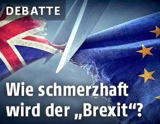 Schere schneidet EU-Flagge von GB-Flagge