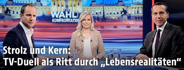 NEOS Parteichef Matthias Strolz,  Moderatorin Claudia Reiterer und SPÖ-Chef Christian Kern
