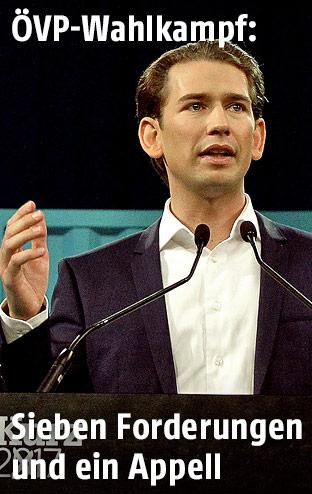 ÖVP-Chef Sebastian Kurz beim Wahlkampfauftakt