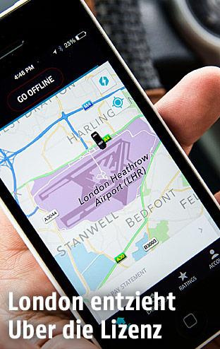 Smartphone zeigt die Uber-App