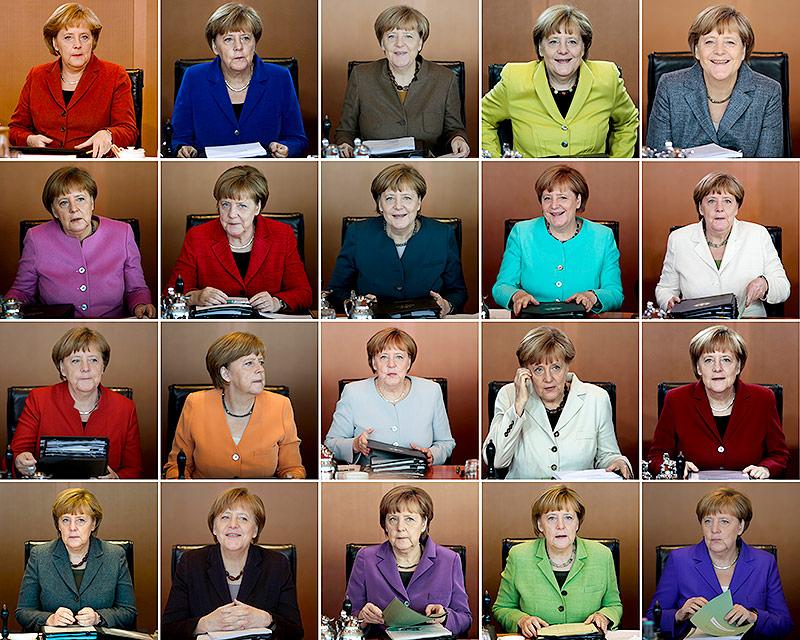 Verschiedene Outfits von Angela Merkel