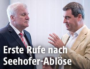 Der bayerische Ministerpräsident Horst Seehofer und der bayerische Finanzminister Markus Söder