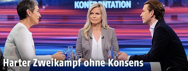 Ulrike Lunacek (Grüne), ORF-Moderatorin Barbara Reiterer und Sebastian Kurz (ÖVP)
