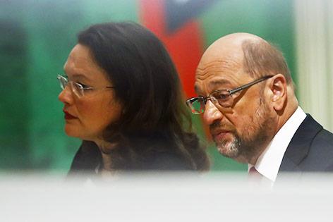 SPD-Chef Martin Schulz und die amtierende deutsche Arbeitsministerin Andrea Nahles