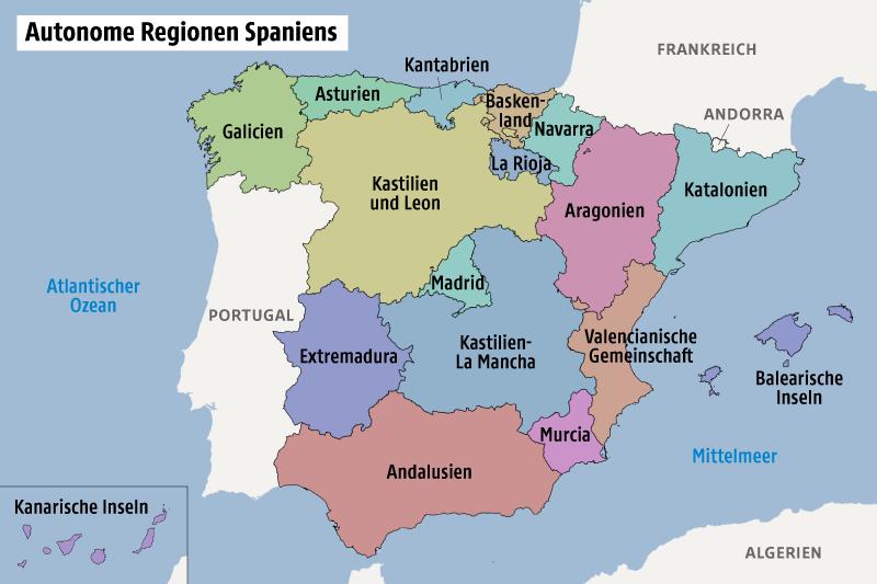Karte zeigt die autonomen Regionen Spaniens