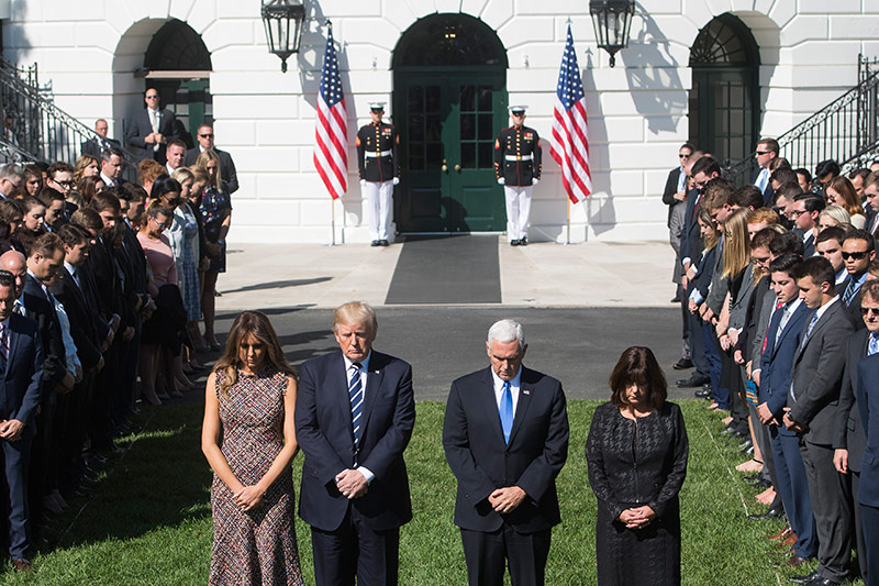 Donald Trump, Melania Trump, Mike Pence und Karen Pence
