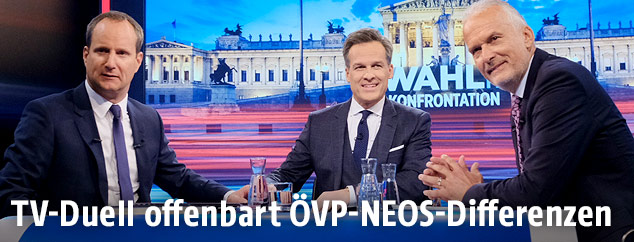 Matthias Strolz (NEOS), Moderator Tarek Leitner und Josef Moser (ÖVP)