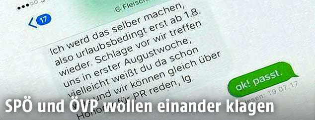 Ausdruck des SMS-Verkehrs zwischen ÖVP-Pressesprecher Gerald Fleischmann und Peter Puller