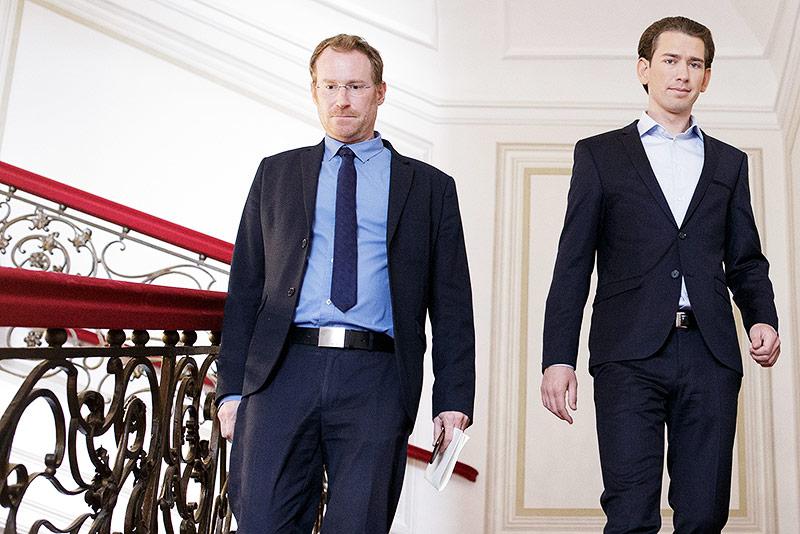 Pressesprecher Gerald Fleischmann und ÖVP-Chef Sebastian Kurz