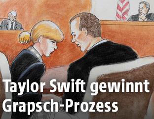 Zeichnung von Taylor Swift im Gerichtssaal