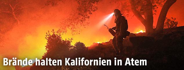 Feuerwehrmann vor einem brennenden Wald