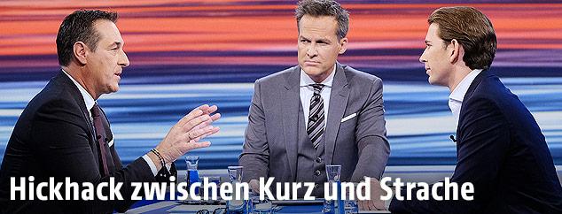 FPÖ-Chef Heinz-Christian Strache, ORF-Moderator Tarek Leitner und ÖVP-Chef Sebastian Kurz