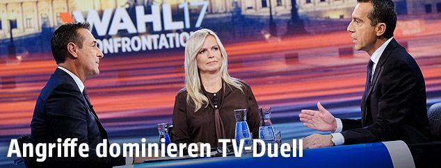 Bundeskanzler Christian Kern (SPÖ), ORF-Moderatorin Claudia Reiterer und FPÖ-Chef Heinz-Christian Strache