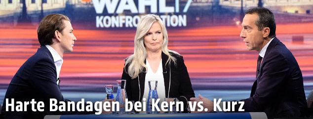 Christian Kern (SPÖ) und Sebastian Kurz (ÖVP) im ORF-Wahlstudio