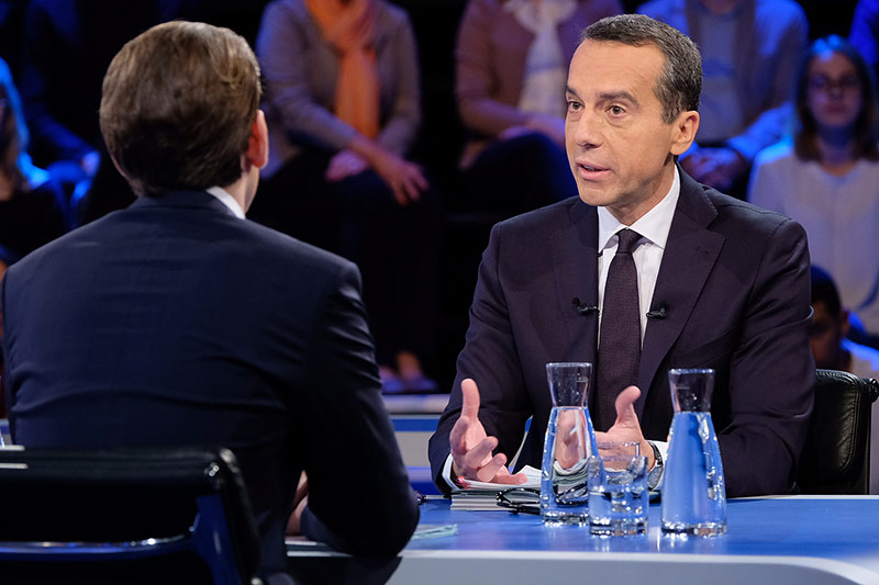 Bundeskanzler Kern (SPÖ) im ORF-Wahlstudio