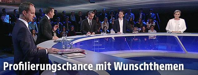 Matthias Strolz (NEOS), Heinz-Christian Strache (FPÖ), Christian Kern (SPÖ), Sebastian Kurz (ÖVP) und Ulrike Lunacek (Grüne)