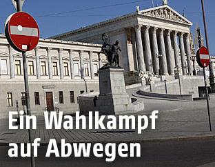 """""""Einfahrt verboten""""-Schilder vor dem Parlament"""