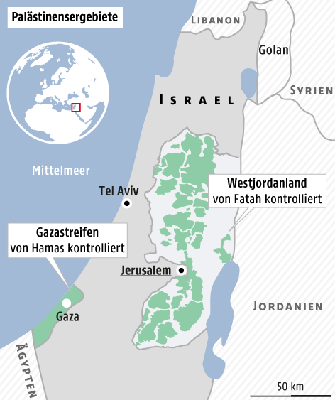 Karte zu den Palästinensergebieten