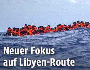 Ein Flüchtlingsboot