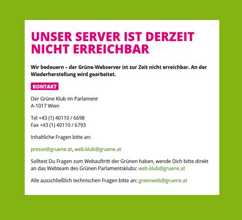 Fehlermeldung auf der Webseite der Grünen