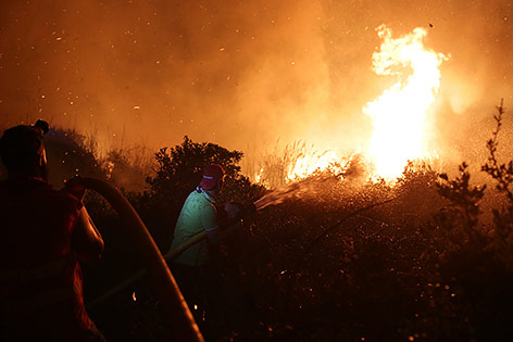 Zwei Männer versuchen einen Waldbrand in Portugal zu löschen