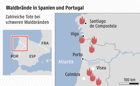 Grafik zu Waldbränden in Portugal und Spanien