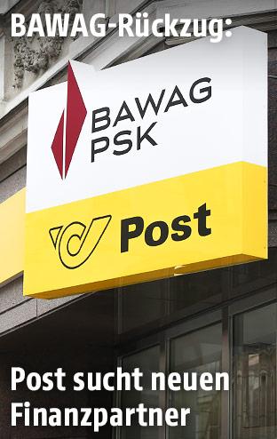Post- und Bawag-Schild