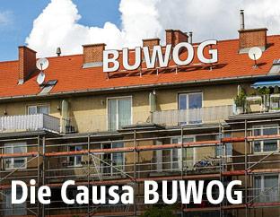 BUWOG-Schriftzug auf einem Wohnhaus