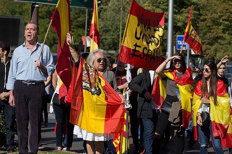 Demonstranten in Katalonien