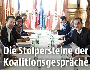Sebastian Kurz (ÖVP), Elisabeth Köstinger (ÖVP) und Gernor Blümel (ÖVP) sowie Norbert Nemeth (FPÖ), Herbert Kickl (FPÖ) und Heinz Christian Strache (FPÖ)