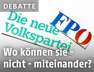 Logos der Parteien ÖVP und FPÖ