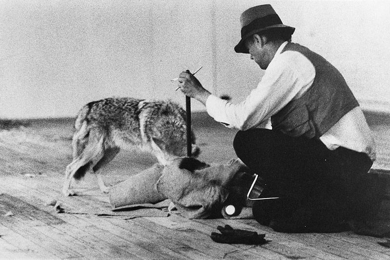 Aktionskünstler Joseph Beuys mit einem Kojoten in einer New Yorker Galerie