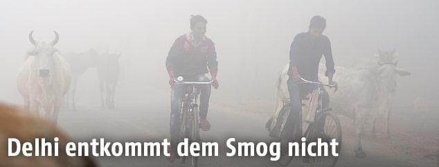 Zwei Radfahrer im Smog von Neu Delhi