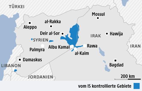 Karte zeigt Gebiete des IS in Syrien und Irak