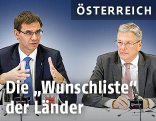Landeshauptmann Markus Wallner (ÖVP) und Landeshauptmann Peter Kaiser (SPÖ)