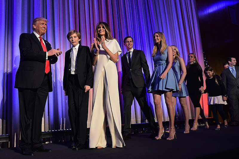 Donald Trump und seine Familie nach dem Wahlsieg, 2016