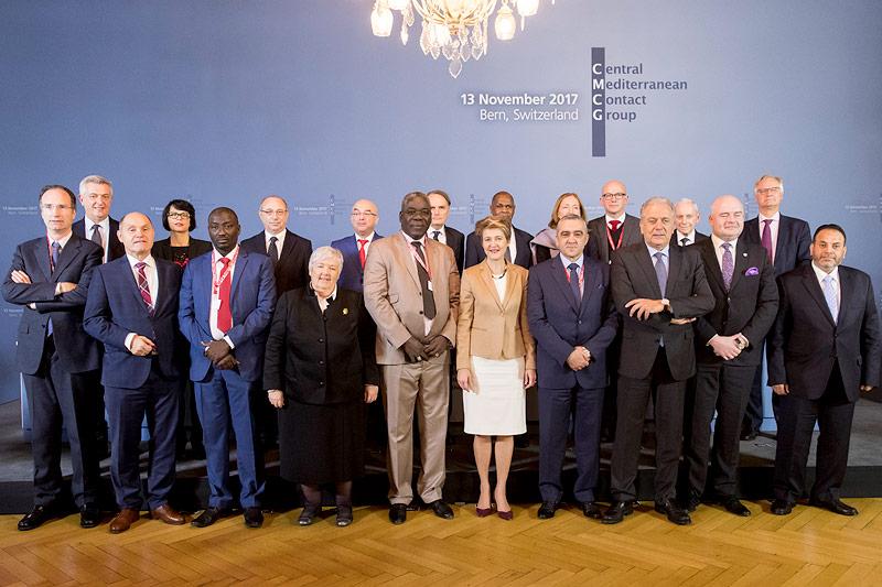 Regierungsvertreter aus Europa und Afrika bei einer Tagung der Kontaktgruppe Zentrales Mittelmeer in Bern