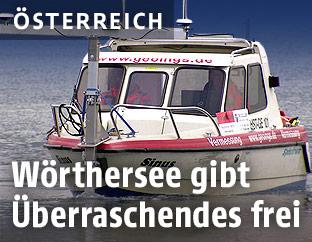 Echolotmessung mit Boot am Wörthersee